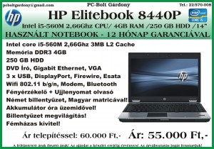 Használt - Notebook HP Elitebook 8440P Intel i5-560M-4GB-250GB-DVDRW 2017-08-04