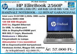 Használt - Notebook HP Elitebook 2560P Intel i5-25410M-4GB-120GB_SSD-DVD 2018-01-10